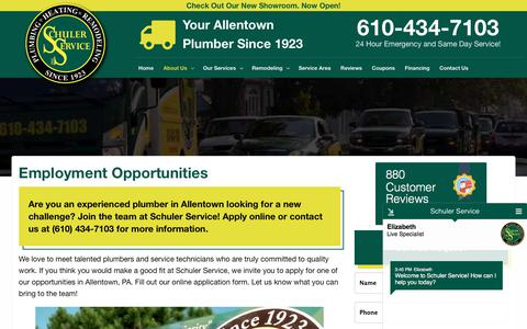 Screenshot of Jobs Page schulerservice.com - Employment Page - Allentown Plumber | Schuler Service Allentown PA Plumbing Service Contractor - captured July 2, 2018
