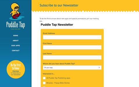 Screenshot of Signup Page puddletap.com - Puddle Tap Publishing | Newsletter - captured Oct. 3, 2014