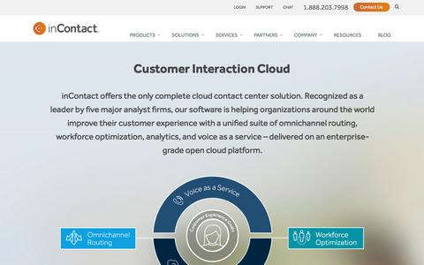 Screenshot of Products Page incontact.com - Cloud Call Center Software | Contact Center Solutions - captured May 20, 2017