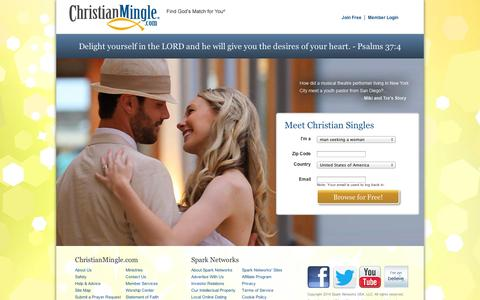 Screenshot of Home Page christianmingle.com - Christian Dating for Christian Singles | Join Free @ Christian Mingle - captured Sept. 11, 2014