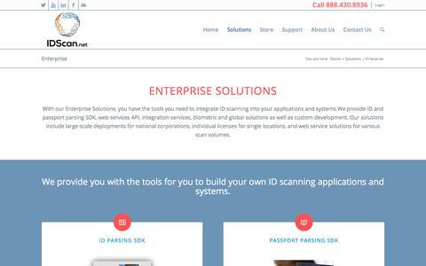 Screenshot of Developers Page idscan.net - Enterprise Solutions - Enterprise ID scanning solutions by IDScan.net - captured Sept. 23, 2018