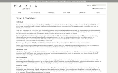 Screenshot of Terms Page marlalondon.com - Marla London | Terms & Conditions - captured Oct. 29, 2014