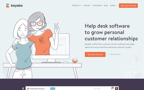 Screenshot of Home Page kayako.com - Help Desk Software | Kayako Unified Customer Service Software - captured Aug. 23, 2017