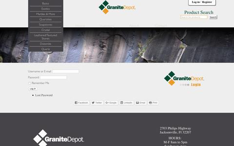 Screenshot of Login Page granitedepot.us - Log In - Granite Depot of Jacksonville, Florida - captured Sept. 9, 2017