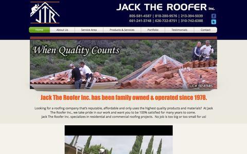 Screenshot of Home Page jacktheroofer.com - Jack The Roofer - Southern California Roofer - captured Oct. 3, 2014