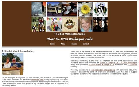 Screenshot of About Page tri-citiesguide.org - About - Tri-Cities Washington Guide - captured June 16, 2016