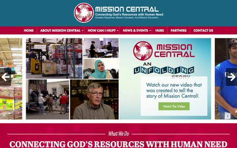 Screenshot of Home Page missioncentral.org - Mission Central | Connecting God's Resources with Human Need - captured Aug. 14, 2015