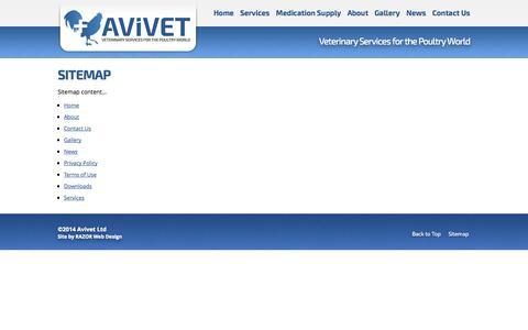 Screenshot of Site Map Page avivet.co.nz - Sitemap   Avivet Ltd   Poultry, Fowl, Avian Specialist - captured Nov. 2, 2014