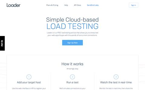 Screenshot of Home Page loader.io - Application Load Testing Tools for API Endpoints with loader.io - captured June 29, 2016