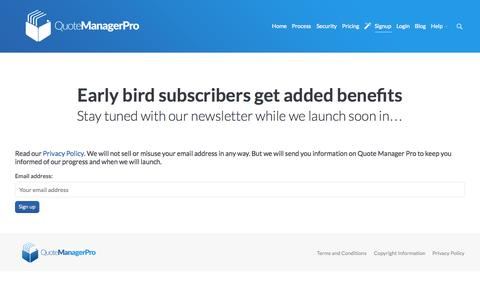Screenshot of Signup Page quotemanagerpro.com - Quote Manager Pro |   Early Birds - captured Sept. 30, 2014