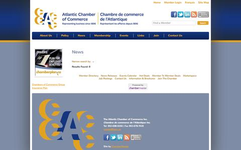 Screenshot of Press Page apcc.ca - News - Atlantic Provinces Chamber of Commerce | - captured Oct. 5, 2014