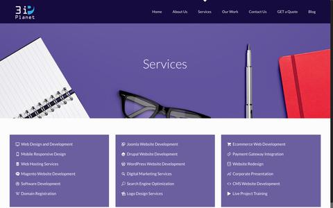 Screenshot of Services Page 3iplanet.com - Best IT services, Web Hosting Services, Software Company in Udaipur - captured Nov. 20, 2016
