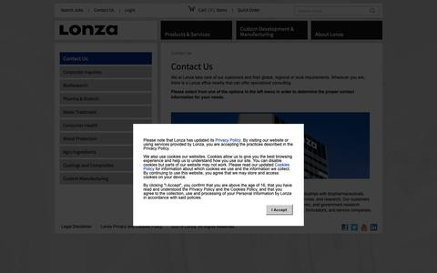 Screenshot of Contact Page lonza.com - Contact Us - captured Sept. 30, 2018
