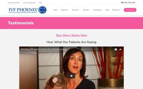 Screenshot of Testimonials Page ivfphoenix.com - Testimonials - IVF Phoenix - captured Feb. 8, 2018