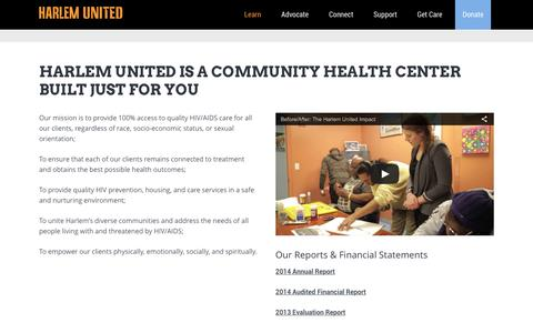 Screenshot of About Page harlemunited.org - Harlem United is a community health center built just for you - Harlem United - captured July 11, 2016