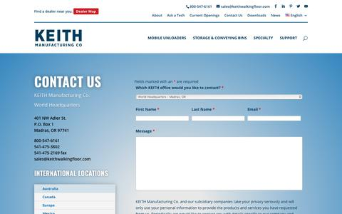 Screenshot of Contact Page keithwalkingfloor.com - How to Get In Touch with KEITH Manufacturing Co – Contact Information - captured Oct. 14, 2018