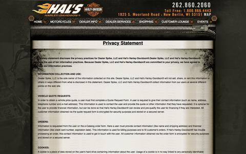 Screenshot of Privacy Page halshd.com - Privacy | Hal's Harley-Davidson® | New Berlin Wi - captured Oct. 1, 2014