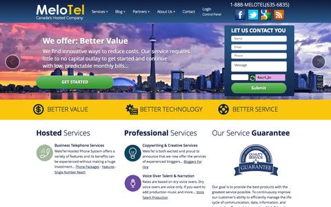 Screenshot of Home Page melotel.com - Voip Provider Toronto - VoIP Services Toronto | VoIP Canada | MeloTelVoIP Services Toronto | VoIP Canada | MeloTel | Canada's Hosted Company - captured Oct. 6, 2014