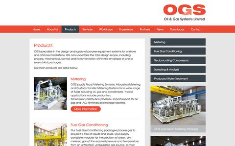 Screenshot of Products Page ogsl.com - Oil & Gas Systems Limited - Products - captured Feb. 16, 2016