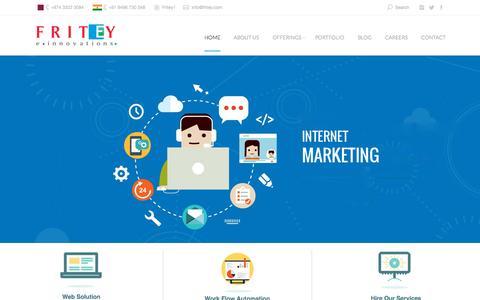 Screenshot of Home Page fritey.com - Fritey Technologies - Web Design, Web Application Development, Web Hosting, Software Development, Mobile Applications , IT Services, Qatar, Calicut, Kerala, India - captured Sept. 16, 2015