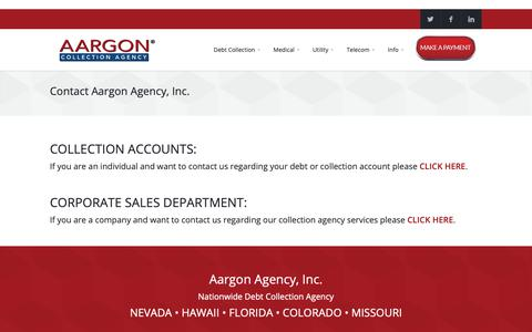 Screenshot of Contact Page aargon.com - Contact Us    Aargon Collection Agency - captured Oct. 2, 2018