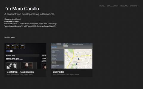 Screenshot of Maps & Directions Page marccarullo.com - MarcCarullo.com | Online Portfolio - captured Oct. 5, 2014