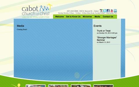 Screenshot of Press Page cabotchurch.com - Media - Cabot Church of Christ - captured Oct. 1, 2014