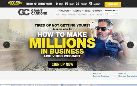 Screenshot of Contact Page grantcardone.com - Contact Grant Cardone Call 310 777-0255 - captured Oct. 21, 2015