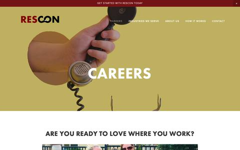Screenshot of Jobs Page resconcierge.com - Careers — ResCon - captured Nov. 15, 2018