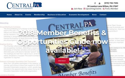 Screenshot of Home Page centralpachamber.com - Central PA Chamber of Commerce | Central PA Chamber of Commerce - captured Nov. 10, 2018
