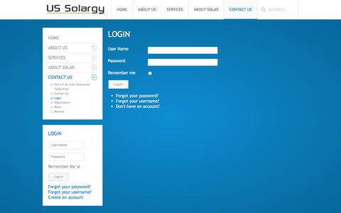 Screenshot of Login Page ussolargy.com - US Solargy - Login - captured Feb. 16, 2016