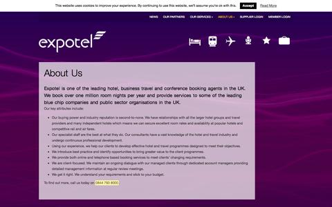 Screenshot of About Page expotel.com - About Us | Expotel - captured Sept. 18, 2014