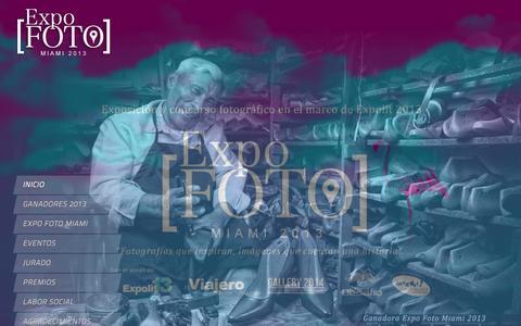 """Screenshot of Home Page expofotomiami.com - Expo Foto Miami - Concurso y Exposición de Arte y Fotografia internacional. """"Fotografias que inspiran, Imagénes que cuentan una Historia"""". - captured Sept. 30, 2014"""