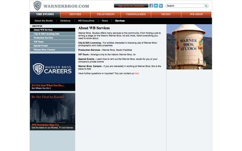 Screenshot of Services Page warnerbros.com - About WB Services - WarnerBros.com - The Studio - captured Oct. 27, 2014