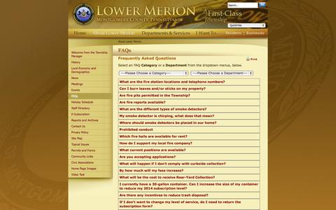 Screenshot of FAQ Page lowermerion.org - Lower Merion Township : FAQs - captured Oct. 3, 2014