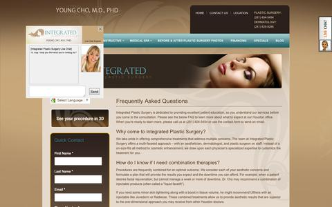 Screenshot of FAQ Page integratedplasticsurgery.com - Frequently Asked Questions Plastic & Cosmetic Surgery Houston - captured Oct. 6, 2014