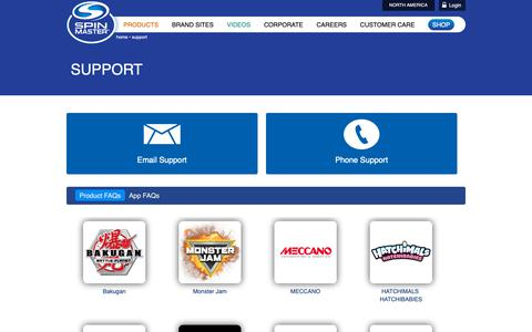 Screenshot of Support Page spinmaster.com - Spin Master - Support - captured Feb. 21, 2019