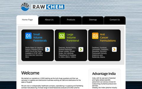 Screenshot of Home Page rawchem.net - Raw Chem   Home page   sterile water for injection, large volume parenterals, anti cancer formulation.   pharmaceutical company. - captured Sept. 30, 2014