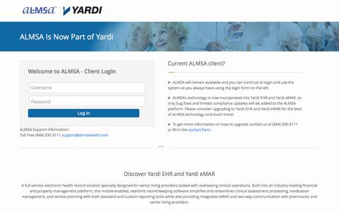 Screenshot of Login Page almsahealth.com - ALMSA is now part of YARDI - captured May 28, 2017