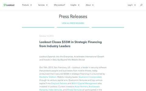 Screenshot of Press Page lookout.com - Lookout Closes $55M in Strategic Financing from Industry Leaders - captured May 23, 2017