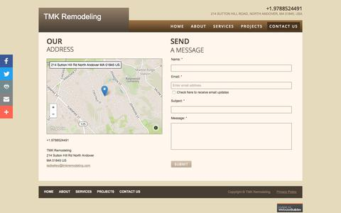 Screenshot of Privacy Page Contact Page tmkremodeling.com - Contact Us - captured Sept. 21, 2018