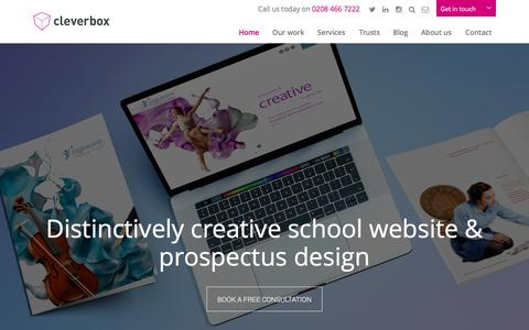 Screenshot of Home Page cleverbox.co.uk - School Websites and Branding That Inspire By Cleverbox - captured May 17, 2017