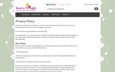 Screenshot of Privacy Page sendathought.co.uk - Send A Thought | Privacy Policy - captured Aug. 16, 2015