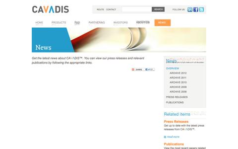 Screenshot of Press Page cavadis.com - Cavadis | developing diagnostic tests for cardiovascular disease - News - captured Sept. 29, 2014