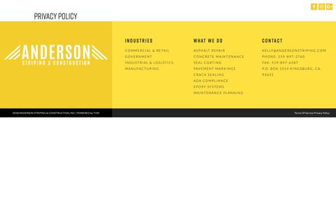 Screenshot of Privacy Page andersonstriping.com - Privacy Policy | Anderson Striping - CA, UT, OR, NV, AZ, WA - captured Oct. 3, 2018