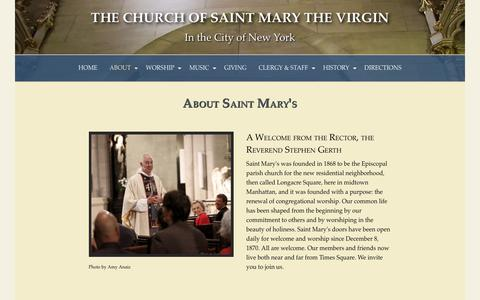 Screenshot of About Page stmvirgin.org - About Saint Mary's — The Church of Saint Mary the Virgin - captured Sept. 28, 2018