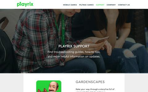 Screenshot of Support Page playrix.com - Support - Playrix - captured May 19, 2017