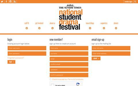 Screenshot of Login Page nsdf.org.uk - Login | National Student Drama Festival - captured Oct. 20, 2018