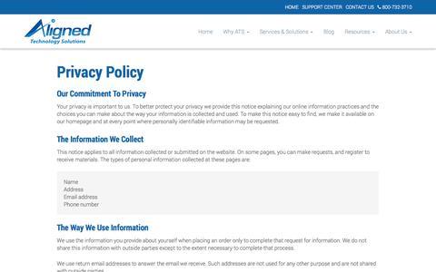 Screenshot of Privacy Page alignedtechnologysolutions.com - Privacy Policy - Alexandria, Arlington, Tyson's Corner | Aligned Technology Solutions, LLC - captured Oct. 4, 2014