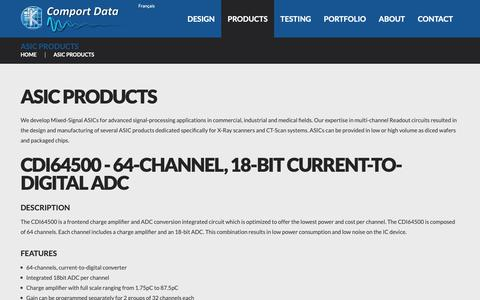 Screenshot of Products Page comport-data.com - ASIC Products & Mixed-Signal ASICs - captured Sept. 29, 2018
